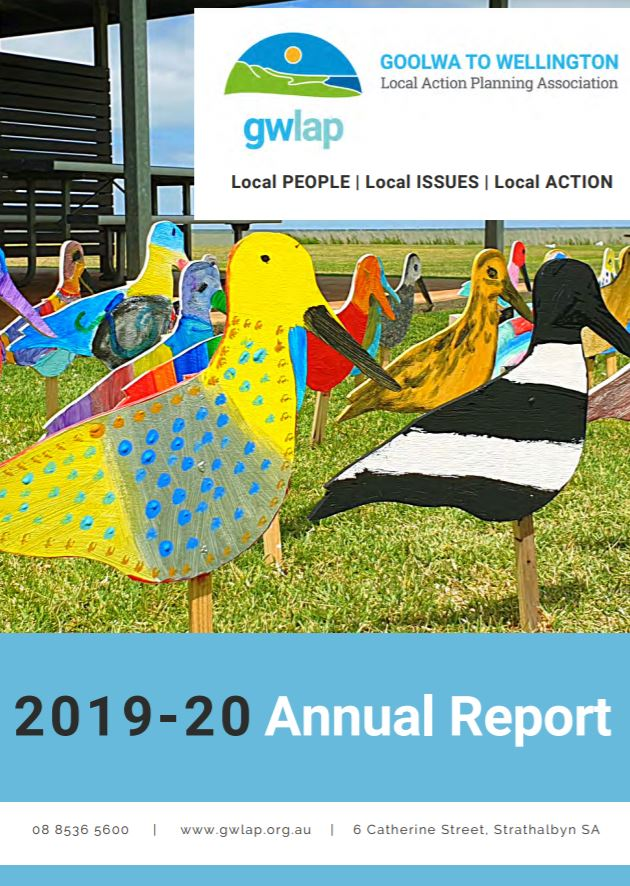 Annual Report cover showing brightly coloured wooden birds